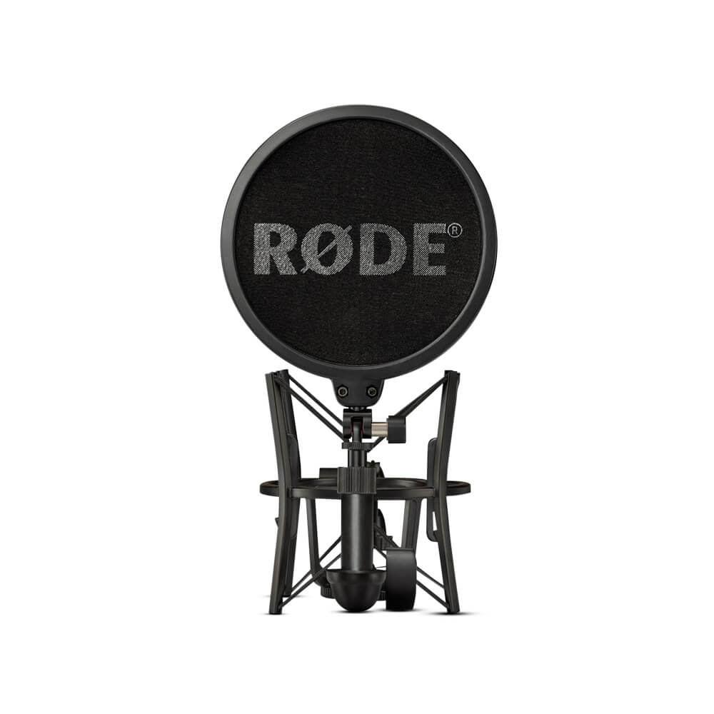 NT1 front with shock mount and pop filter