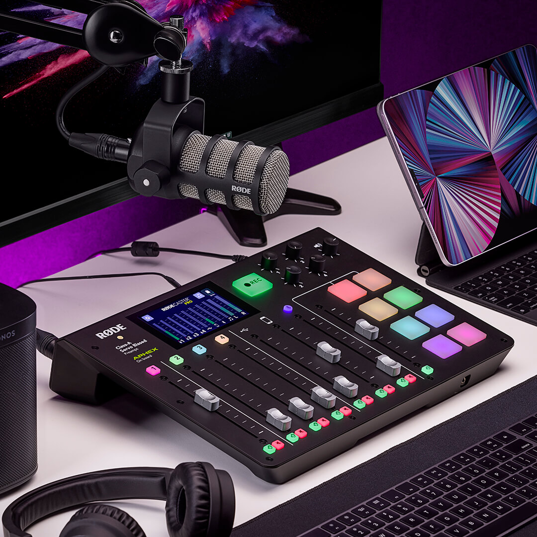 rodecaster pro with podmic with purple lighting