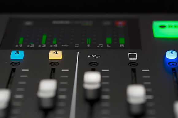 rodecaster pro channel faders and meter with signal, usb channel focussed