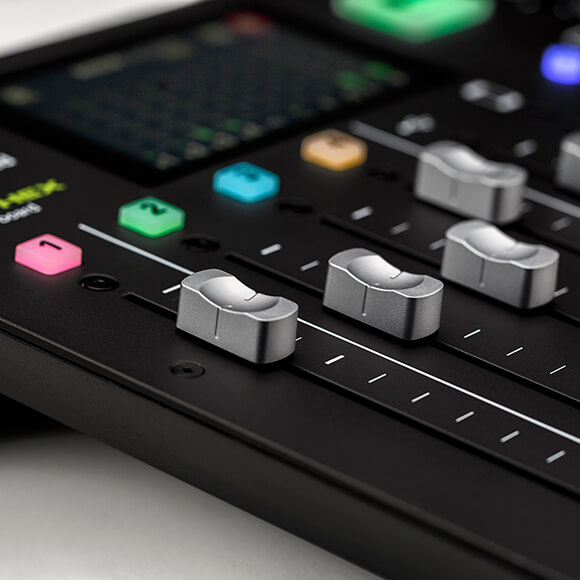 rodecaster pro microphone channel faders and channel buttons