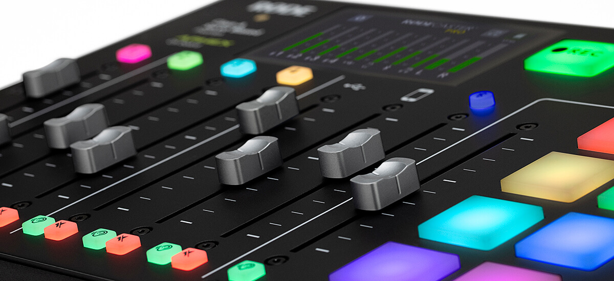 rodecaster pro usb smartphone and bluetooth channel faders with signal on meters