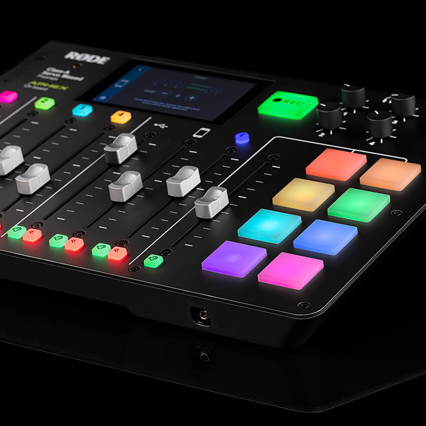 rodecaster pro sound pads with triggered sound pad being played on the meters