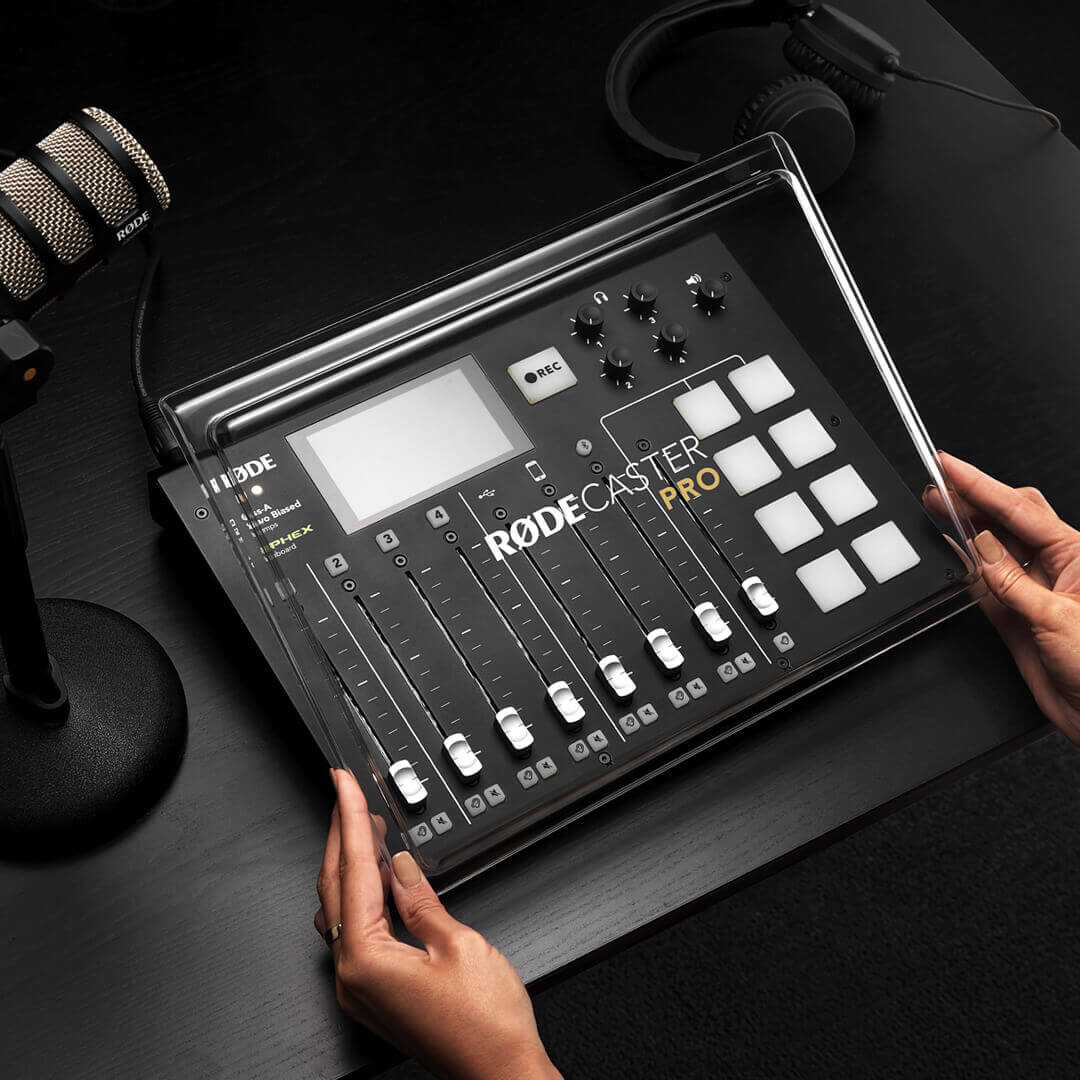 RØDECover Pro being placed on RØDECaster Pro