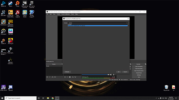 Windows PC screenshot of OBS settings selecting RODECaster Pro Stereo as the audio device
