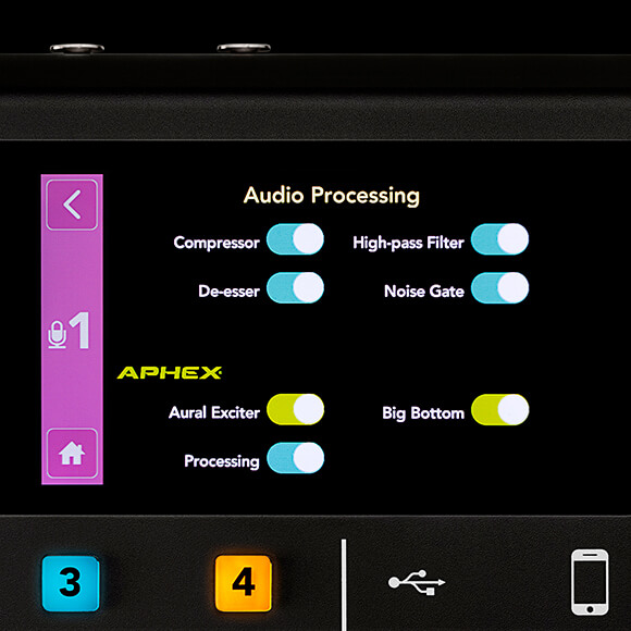 Basic Audio Processing settings screen on the RODECaster Pro