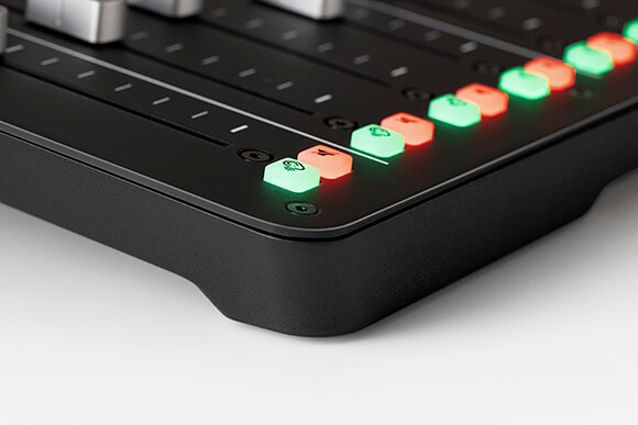 Solo and Mute buttons for each channel on the RODECaster Pro