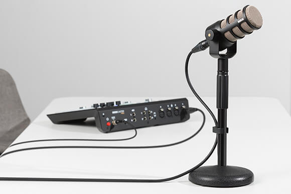 PodMic connect via XLR cable to the back of the RODECaster Pro