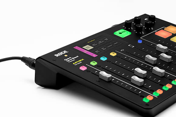 RODECaster Pro on mic selection screen with PodMic connected to XLR input 1.