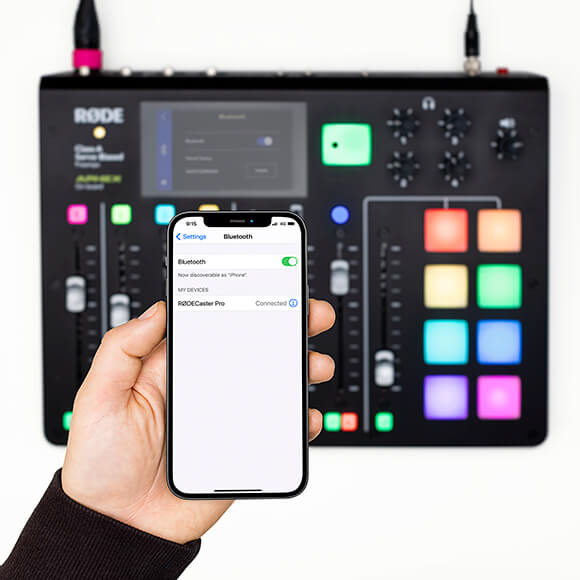 iPhone 12 connected via bluetooth to the RODECaster Pro
