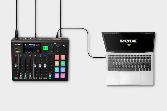 RODECaster Pro connected via USB cable to MacBook pro computer