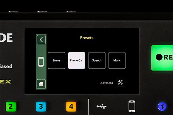 rodecaster pro preset menu screen for smartphone channel