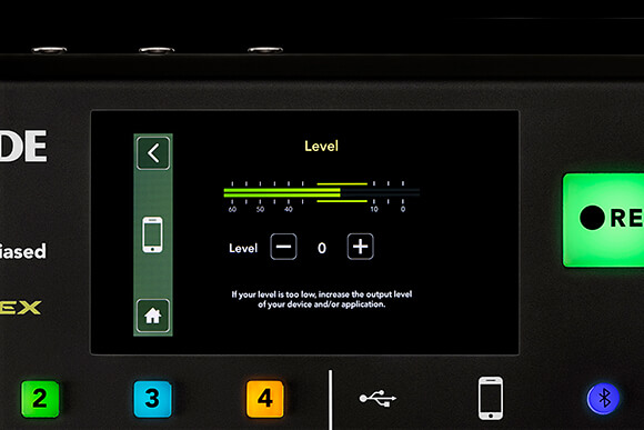 rodecaster pro level menu screen for smartphone channel