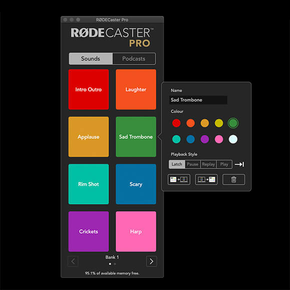 Computer screenshot of RODECaster Pro companion app with Sound Pads menu displayed. Settings to change name, colour, playback style and delete.