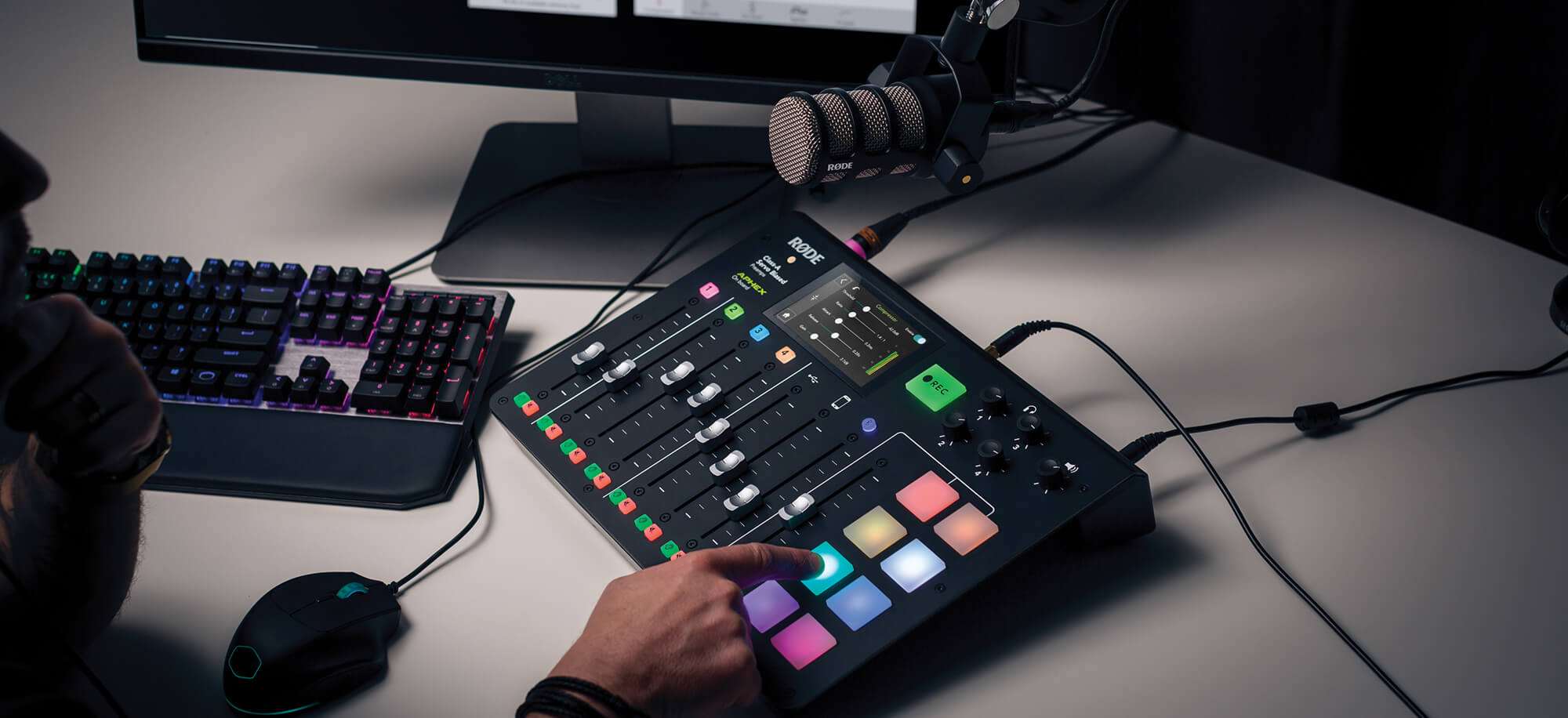 RODECaster Pro with advanced effects processing displayed and connected via USB cable to a computer