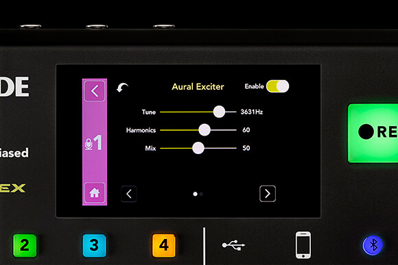 RODECaster Pro screen with Aphex Aural Exciter processor settings