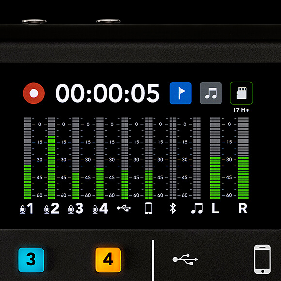 rodecaster pro home screen with recording and broadcast meters active