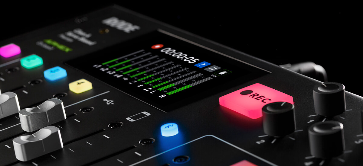 RODECaster Pro close up on Record button with the home screen recording and meters on the screen