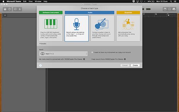 rodecaster pro garageband daw settings audio input device