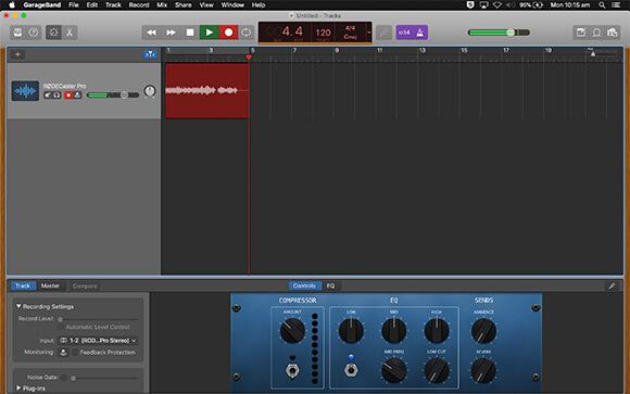 rodecaster pro garageband daw recording audio