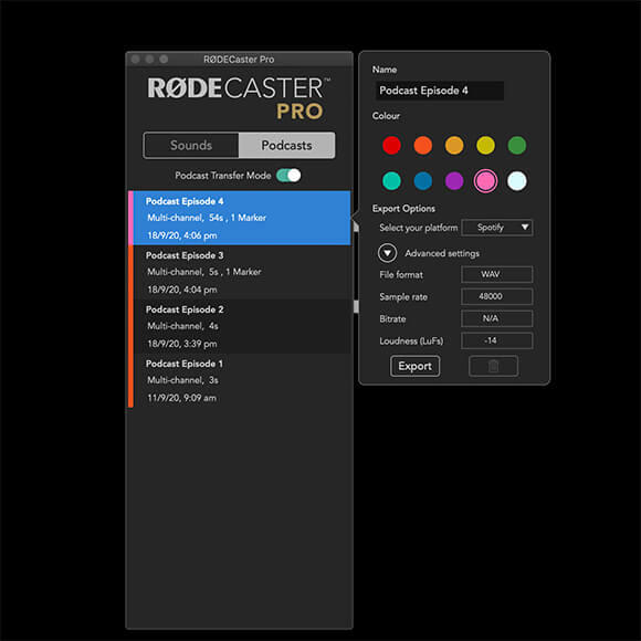 Screenshot of the RODECaster Pro Companion app with Exporting options displayed.