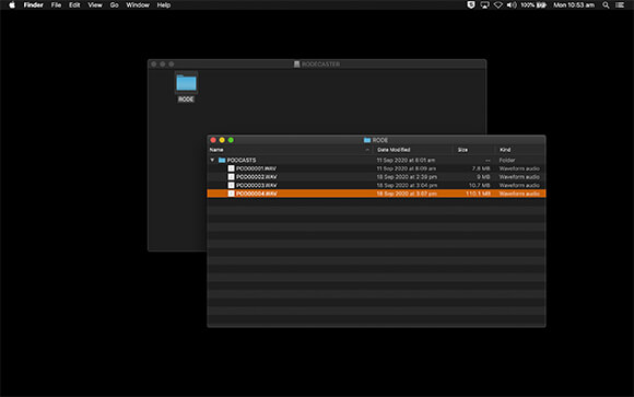 Computer screenshot of RODECaster Pro dialog box displaying all recorded podcasts