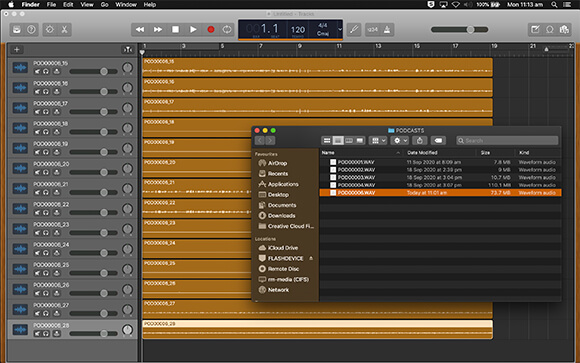 Computer screenshot of Garageband DAW with individual channels from the RODECaster Pro imported from a PolyWave file to seperate tracks