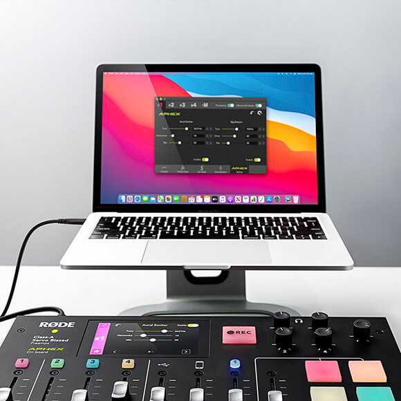 rodecaster pro effects edit mode enabled with a macbook pro with companion app and advanced audio processing applied