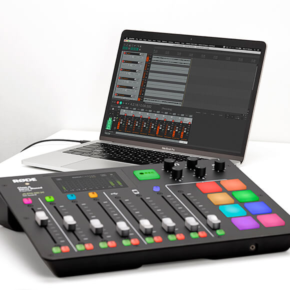 rodecaster pro connected via usb cable to a macbook pro with reaper open recording multitrack audio