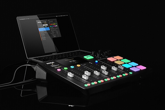 rodecaster pro connected via usb cable to macbook pro with exporting options in the companion app