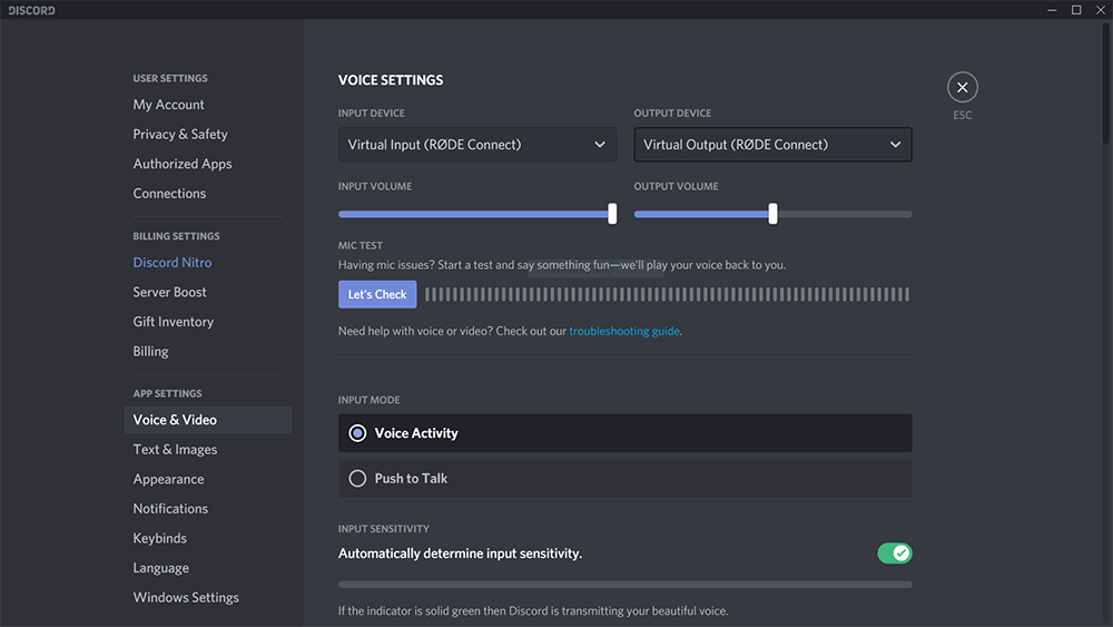 Screenshot of Discord audio settings changing to 'RODE Connect Virtual'